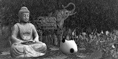 Tilt Your Head Back and Laugh At The Sky (Loegan Magic) Tags: secondlife buddha figurines statues panda elephant decorative table buddhism blackandwhite monchrome spirituality flowers outdoors