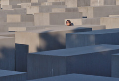 Memorial to the Murdered Jews of Europe (Debarshi Ray) Tags: germany berlin holocaust worldwarii secondworldwar memorial memorialtothemurderedjewsofeurope canon canoneos70d canonef50mmf18ii autumn city grey girl lady woman female wife girlfriend sunglasses glasses brunette hair black ears earrings mitte