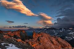 Rockin' out (Bill Bowman) Tags: trailridge rockymountainnationalpark lenticularclouds sunset colorado rockymountains longspeak stonespeak rockcut