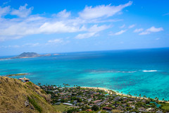 Blue Hue Views (Alison Claire~) Tags: hawaii beach oahu water island america travel travelling amateur canon canoneos canoneos600d outdoor outdoors hiking hike view blue sky skyscape waterscape beautiful mountain house coral reef pillbox trees palm clouds