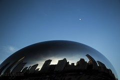 Curves and crescents (saiyyam arts) Tags: chicago city bean cloudgate cloud gate blue sky moon halfmoon curve curvy skyline cityscape illinois greatlakes great lakes windy evening sunset shaam deep skies sunshine sunny dark night silhouette outdoors things do