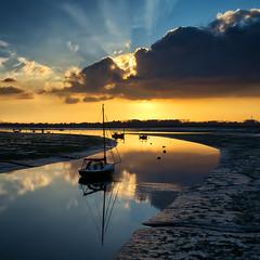 Golden Arc (Solent Poster) Tags: chichester emsworth harbour thorney island sunset sunrise low tide boats hampshire landscape seascape dji phantom 4 pro plus p4p djiphantom4proplus