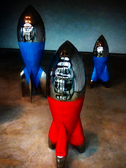 Shiny Bombs Make Sharp Shiny Shrapnel (Steve Taylor (Photography)) Tags: bomb art sculpture blue black red brown white concrete plastic newzealand nz southisland canterbury christchurch cbd city reflection shiny davidmccracken plainview scape scifi texture
