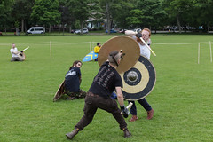 Historia Normannis Meadows June 2018-374 (Philip Gillespie) Tags: historia normannis central scotland sparring fighting shields swords axes spears park grass canon 5dsr men man women woman kids boys girls arms feet hands faces heads legs shins running outdoor tabards chain mail chainmail helmets hats glasses sun clouds sky teams solo dead act acting colour color blue green red yellow orange white black hair practice open tutorial defending attacking volunteer amateur kneeling fallen down jumping pretty athletic activity hit punch