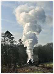 30587, leaking steam like a sieve, struggles to lift a short goods train. (johncheckley) Tags: d90 uksteam train railway steam loco