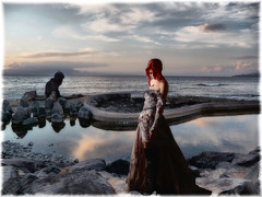 Expectation. (Bessula) Tags: bessula women sea coast sky evening light reflection spain summer composition creation rocks