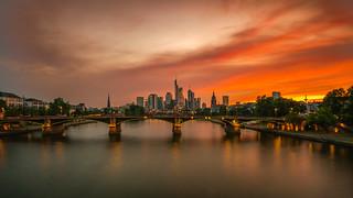 Burning sky over Frankfurt