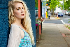 Janelle (austinspace) Tags: woman portrait spokane washington model blond blonde rainy summer day dress sweater storefront pride parade