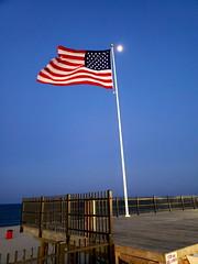 Memorial Day Weekend (SurFeRGiRL30) Tags: flag americanflag redwhiteblue starsstripes usa memorialdayweekend thankyou moon night seasideheightsnj boardwalk nj summer summerof2018 oldglory