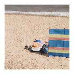 Beach Bum (Number Johnny 5) Tags: square 50mm d750 southwold street people person space mundane beach imanoot banal nifty woman nikon candid johnpettigrew documenting fifty
