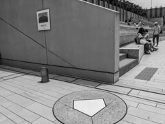 There used to be a baseball stadium here. (Hideki Iba) Tags: blackandwhite iphone iphone8 nishinomiya hyogo japan bw whiteandblack stadium baseball sport base catcher
