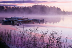 Summer dawn (Birgitta Sjostedt) Tags: landscape lake water bout bridge summer dawn magic color pink sunrise haze fog fineart texture birgittasjostedt