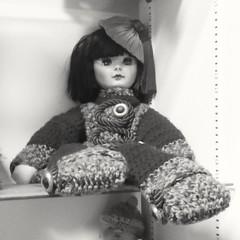 Passive on a Shelf (PhotoJester40) Tags: indoors inside vintage doll vintagedoll bnw blackandwhite bw noirblanc sitting amdphotographer