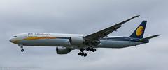 JET Airways 777-300ER landing at London Heathrow (Alaskan Dude) Tags: travel europe england london londonheathrowairport heathrow myrtleavenue planespotting planewatching airplanes aviation jets airlines airliners