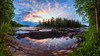 Sunrise on the 8th of June (M.T.L Photography) Tags: koiteli kiiminki finland mtlphotography water river rocks sky sunrise forest trees summer grass flowers clouds riverkiiminkijoki mikkoleinonencom fog mist stream panoramicphotography