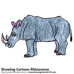 Cartoon Rhinoceros (drawingtutorials101.com) Tags: cartoon rhinoceros animals animal how draw drawing drawings color colors coloring pencil pencils speed