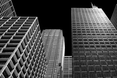 Tall Buildings & Black Sky (jbarc in BC) Tags: chicago downtown buildings skyscrapers black sky windows architecture light dark darkness angles