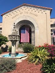 Memorial Day, 2018 (Melinda Stuart) Tags: chapelofthechimes flag us holiday memorialday architecture spanish tileroof stucco sunshine entry door landscape