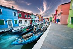 L'ora blu di Burano (Danilo Agnaioli) Tags: burano orablu canon6d sigma1224 canale barche cielo colori longexposure