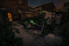 Urban Oasis (Rob Pitt) Tags: home garden bistro night photography a7rii samyang 14mm f28 full frame lightroom cheshire story