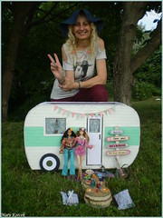 My mom with a camper and dolls (Mary (Mária)) Tags: summer trip park doll barbie toys handmade camper boho travel camping nature festival love peace freedom flower hippie chic photography photoshoot photographer exterior mom birthday marykorcek