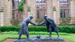 All together now: The Christmas Truce (rylojr1977) Tags: statue sculpture ww1 thegreatwar germany greatbritain liverpool football soldiers handshake nomansland tommy hun jerries infantry truce peace war soccer