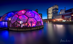 Floating Pavilion III (Alec Lux) Tags: rotterdam architecture atmosphere bluehour bridge building canal city cityscape design erasmus floating holland landscape landscapephotography lights longexposure longexposurephotography netherlands nhow night nightscape pavilion reflection river skyline skyscraper structure urban water zuidholland nl