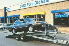 OMC Ford Oldham (Nivek.Old.Gold) Tags: ford orion 16i ghia 1990 omcford oldham indespension car transporter trailer