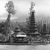 Pura Ulun Danu Bratan, Bali (scinta1) Tags: bali bedugul lake bratan danau water waterscape scenery trees temple cloudy weather sky meru pura mist hindu blackandwhite