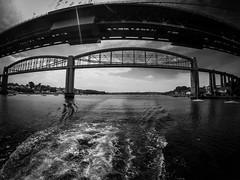 G0032613-2 (Marklucylockett) Tags: tamarbridge devon cornwall marklucylockett 2018 june boat blackandwhite gopro goprohero3 rivertamar bridge brunelbridge