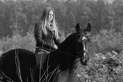 Bella (serkoh) Tags: girl portrait people fashion horse bw blackandwhite canoneos550d canonef85mmf18usm sit sitting seated