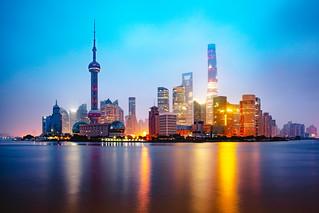 Shanghai foggy morning, Shanghai city skyline China