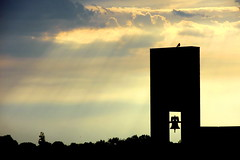 For Whom the Bird Tweets (R. Kurosawa) Tags: sky clouds sun ray bell bird silhouette