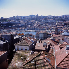 Porto roofs (Stephen Dowling) Tags: film 120 mediumformat lubitel166u slide fujiprovia100f porto portugal