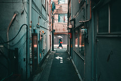 ~/^ __ ^\~ (Laser Kola) Tags: streetphotography street woman lady walking umbrella cyberpunk steampunk teal fujifilm x100 x100s somewhereintokyo tokyo japan cinematic exploring exploringthecity lasseerkola laserkola urban urbanphotography city citylife bladerunner narrowalley streetphoto streetview streetclassics streetshared cybervibe 下北沢 shimokitazawa 2017