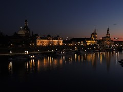 River Elbe, Dresden (GothPhil) Tags: sunset dusk illuminations floodlit architecture river elbe skyline sky buildings dresden saxony sachsen germany may 2018 boats reflection night