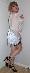Contrast (janegeetgirl2) Tags: transvestite crossdresser crossdressing tgirl tv ts stockings heels garters nylons glamour lingerie white satin skirt blouse stilettos fully fashioned highheels bra mini rht short