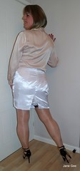 White satin skirt (janegeetgirl2) Tags: transvestite crossdresser crossdressing tgirl tv ts stockings heels garters nylons glamour lingerie white satin skirt blouse stilettos fully fashioned highheels bra mini rht short