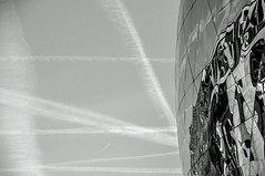 LA GEODE (EXPLORE - June 10, 2018 - Many thanks to you all) (ericbeaume) Tags: lavillette paris sky clouds texture reflection abstract abstrait noirblanc noiretblanc monochrome blackwhite bw nb naturallight outdoor outside ericbeaume