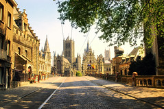 Gent (hunblende) Tags: belgium gent city cityscape travel sunshine shade church street