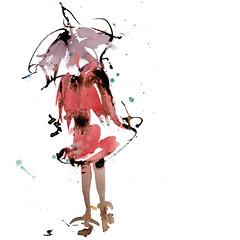 Spring shower (Nellytella) Tags: watercolor ink aquarelle aquarellecroquis encre personnage people pluie rainy rain shower averse illustration parapluie umbrella