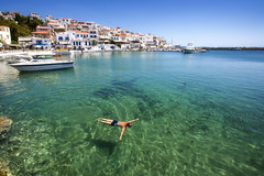 a successful morning at the office (yan08865) Tags: andros greece hellas cyclades ocean water port batsi flow landscapes seascapes greek mood village travel pavlis morning sea city sky boat bay building mountain