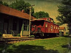 Final Destination (Dave Linscheid) Tags: train caboose railroad depot red texture textured railroadtracks pioneervillage cottonwoodcounty mn minnesota usa