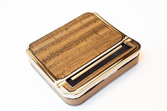 Holiday Gift Cigarette Case & Roller Machine : music notation, musician gift, music gift, christmas, wood working, music notes, joint roller by ResoluteStar (Resolute Star) Tags: art wood maker pentax k5 fa77 da35 typewriter poetry inspiration quote macro gift etsy resolute star diy handmade still life product photography holiday cigarette case roller machine music notation musician christmas working notes joint by resolutestar
