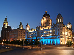 The Three Graces (Colin__Murray) Tags: liverpool mersey merseyside england uk building britain listedbuilding architecture sky sony waterfront docks harbour night lowlight photography pierhead river heritage city lights clock unesco colour color cunard liverbirds magnificent beautiful time face dome port blue road