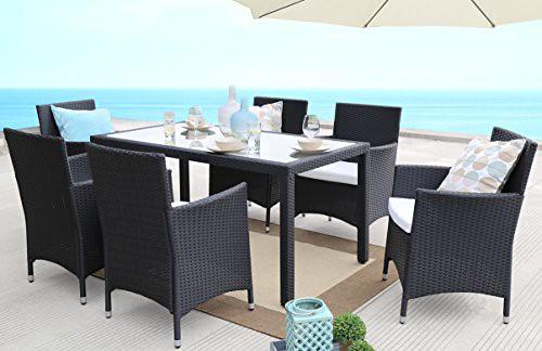 Baner Garden 7 Pieces Outdoor Furniture Complete Patio PE Wicker Rattan Garden Dining Set, Full, Black For Sale
