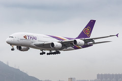 THAI A380-800 HS-TUF 001 (A.S. Kevin N.V.M.M. Chung) Tags: aviation aircraft aeroplane airport airlines plane spotting hkg airside landing arrival a380800