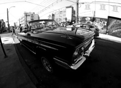 Bushwick-Beauty (MassiveKontent) Tags: brooklyn chevrolet vintage car bushwick street photography bwphotography streetshot gopro fisheye bw contrast city monochrome urban blackandwhite photo shadows nyc newyorkcity retro road windshield