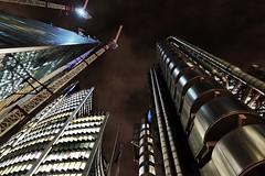 Sharpening The Scalpel (Douguerreotype) Tags: london geometric futuristic dark uk british buildings lights geometry bank architecture britain night city gb urban england