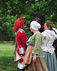 Colonial People and a Horse (Tim7778) Tags: people colonial costumes trees woods grass outdoors reenactment vincennes uniform soldier